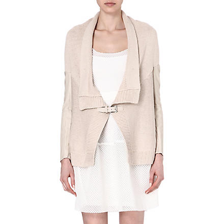 MAJE Falane leather-panelled cardigan (Craie