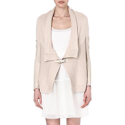 MAJE Falane leather-panelled cardigan (Craie