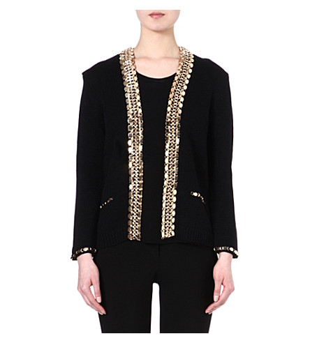 MAJE Fascinate chain trim cardigan jacket (Black