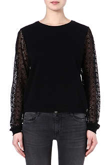 MAJE Faune lace sleeve top