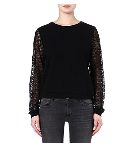 MAJE Faune lace sleeve top (Noir