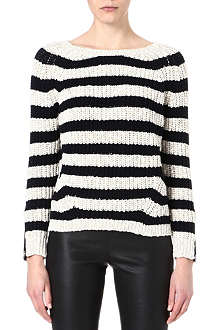 MAJE Striped zipped-sleeve pullover