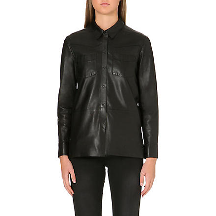 MAJE Fedda leather shirt (Black