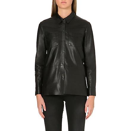 MAJE Fedda leather shirt (Black