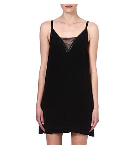 MAJE Fez lace-insert dress (Black