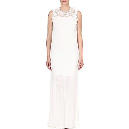 MAJE Fire long linen-blend dress (Ecru