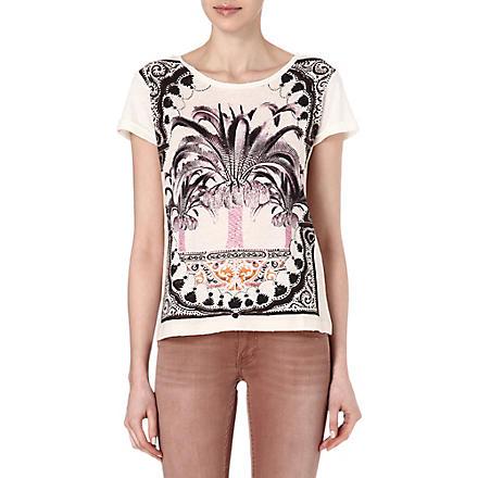 MAJE Fleuri plam tree t-shirt (Ecru