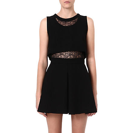 MAJE Foldea lace-panelled dress (Black