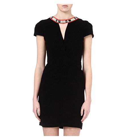 MAJE Fraicheur necklace wrap dress (Black