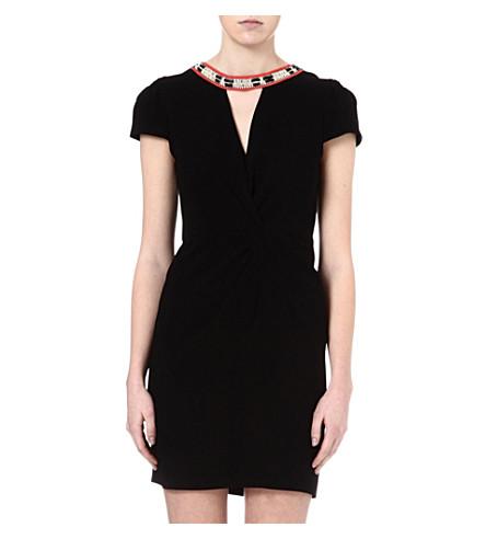 MAJE Fraicheur necklace wrap dress (Black