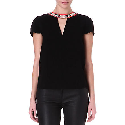 MAJE Fraiche necklace top (Black