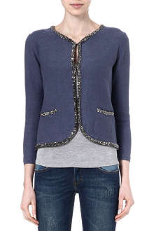 MAJE Strass trim cardigan