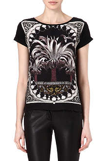MAJE Printed silk panel t-shirt
