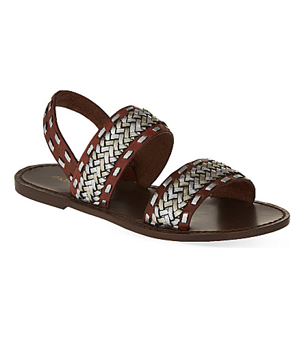 MAJE Braided leather sandals (Camel