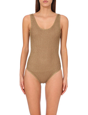 MAJE Knitted scoop-back swimsuit