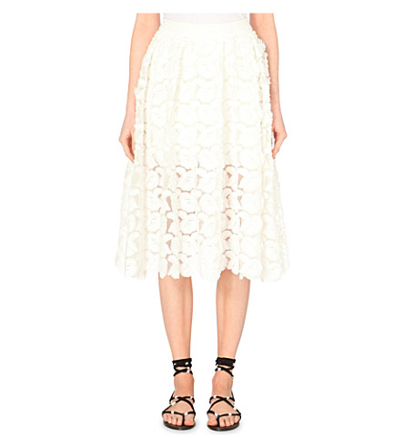 MAJE Jardin embroidered crepe skirt (Blanc