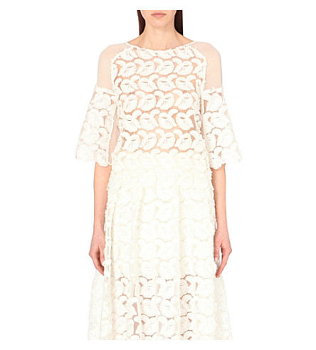 MAJE Logan embroidered crepe top (Blanc