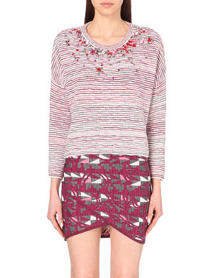 MAJE Jewelled neckline knitted jumper