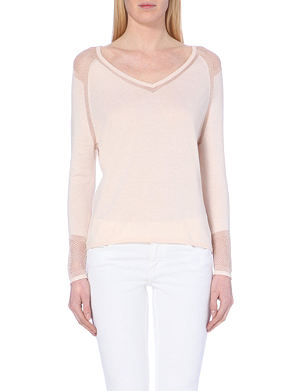 MAJE Muguet fishnet yoke silk-blend jumper