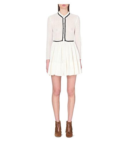 MAJE Rayane button-up lace dress (Ecru
