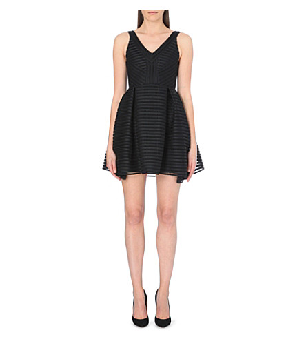 MAJE Rayure striped-mesh dress (Black