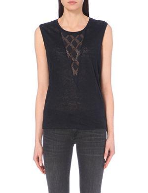 MAJE Tao lace-insert linen top