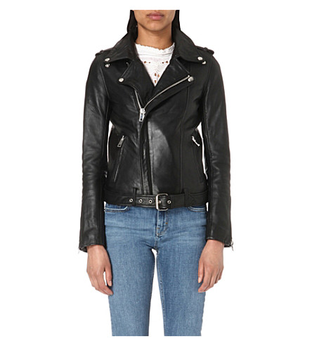 MAJE Bocelui leather biker jacket (Black