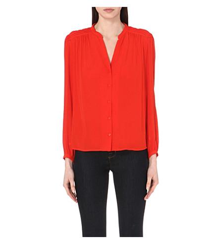 MAJE Charmeuse crepe shirt (Red/orange