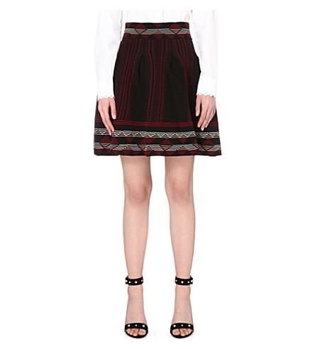 MAJE Jordy graphic-print stretch-knit skirt (Black