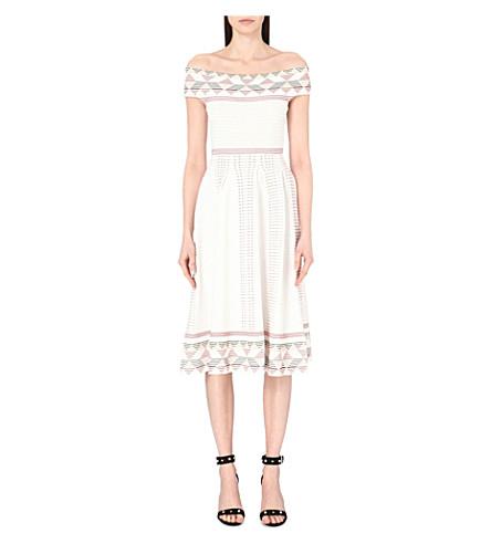 MAJE Remord geometric-jacquard off-the-shoulder dress (Ecru