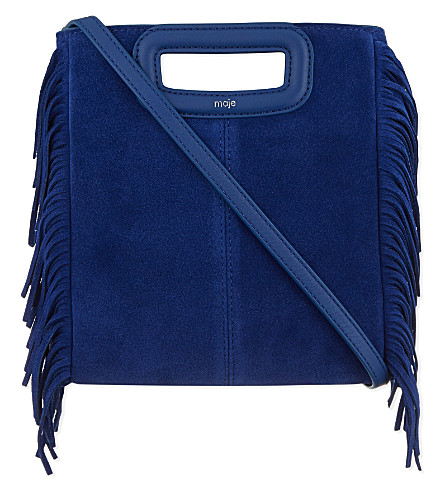 MAJE The M fringed suede shoulder bag (Electric blue
