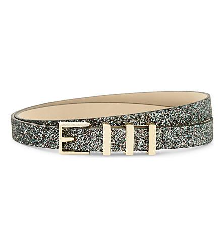 MAJE Asteria glitter skinny belt (Multico