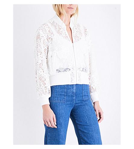 MAJE Belem lace bomber jacket (Blanc
