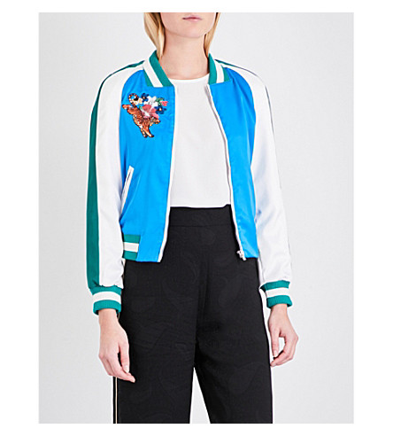 MAJE Bianca hummingbird-embroidered bomber jacket (Bleu