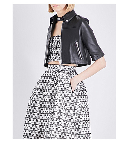 MAJE Brittany mini leather jacket (Black