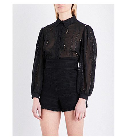 MAJE Calek lace shirt (Black