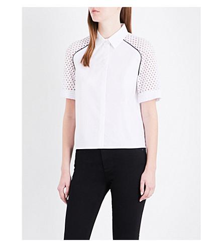 MAJE Casey cotton-poplin shirt (Blanc