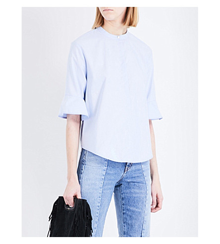 MAJE Charly flared-sleeve cotton shirt (Bleu+ciel