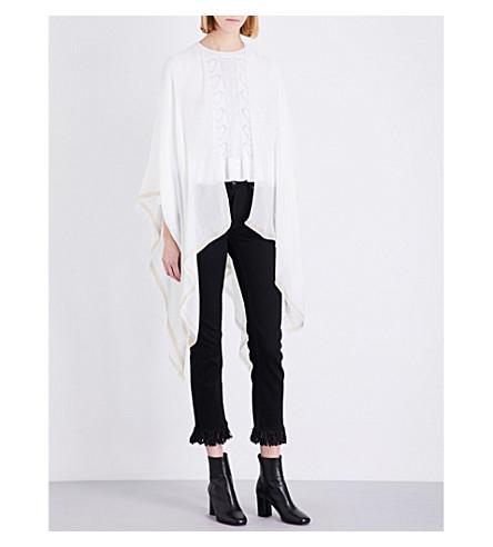 MAJE Eloha woven poncho (Blanc+casse