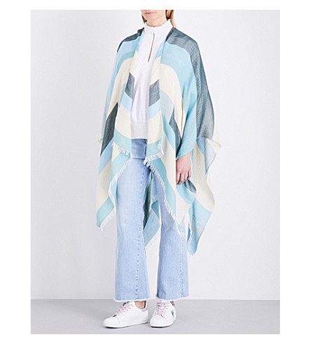 MAJE Embruns cotton-blend poncho (Bleu