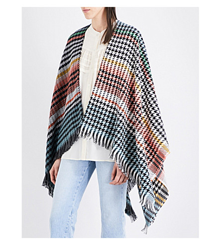 MAJE Emilie striped houndstooth knitted poncho (Multico