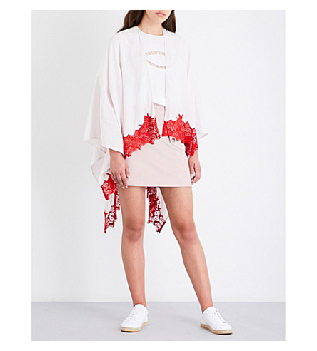 MAJE Epona cotton-blend poncho (Rose