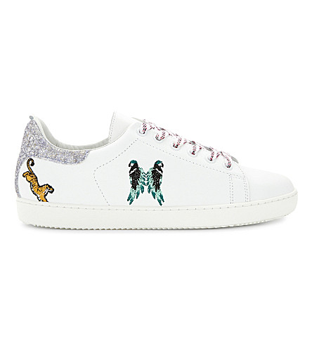 MAJE Funny leather low-top trainers