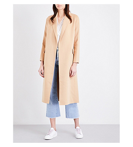 MAJE Geode wool-blend wrap coat (Beige