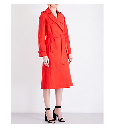 MAJE Goldie cotton-gabardine trench coat (Rouge