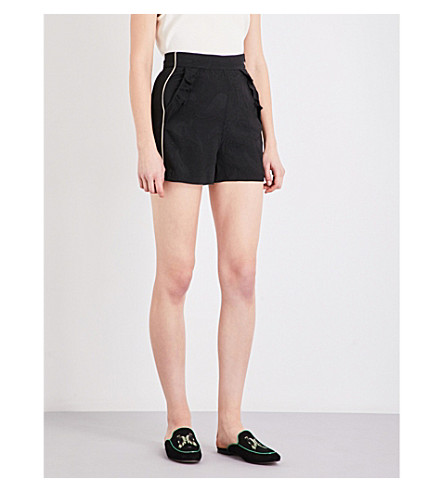 MAJE Idoine high-rise jacquard shorts (Black