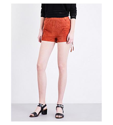 MAJE Ilan suede shorts (Terracotta