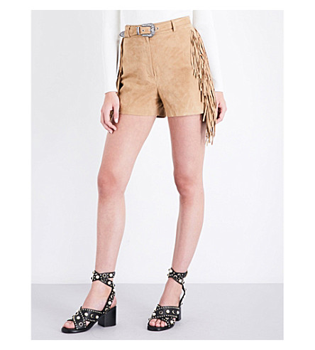 MAJE Izmir high-rise fringed suede shorts (Beige
