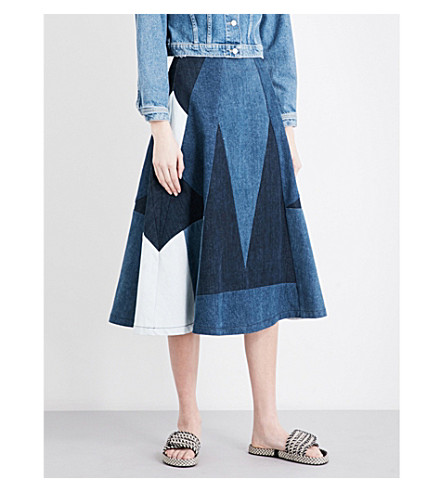 MAJE Jabla patchwork denim midi skirt (Denim