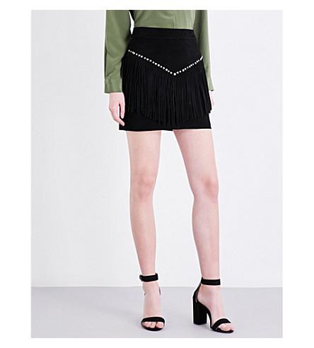 MAJE Jaco fringe-detail suede skirt (Black